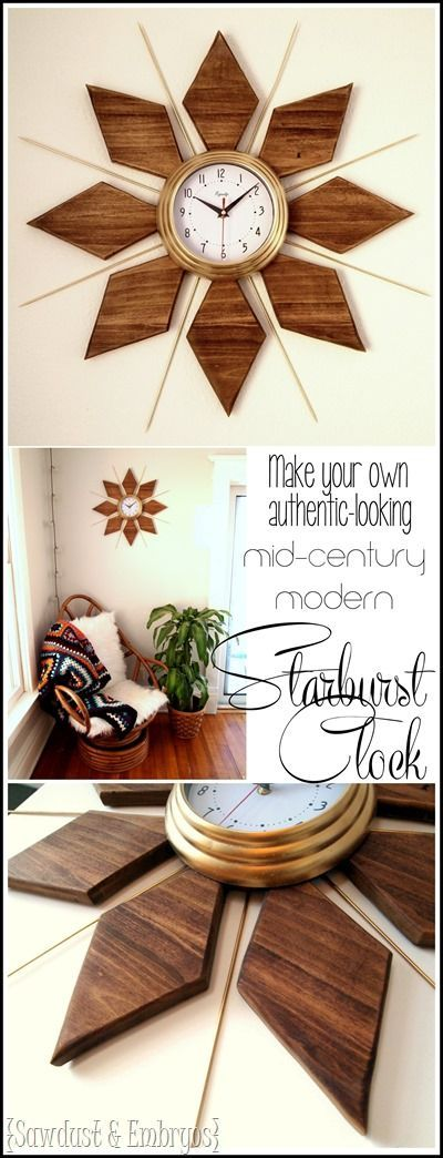 Make your own DIY Mid-Century Modern Starburst Clock... it looks so authentic! {Sawdust and Embryos}
