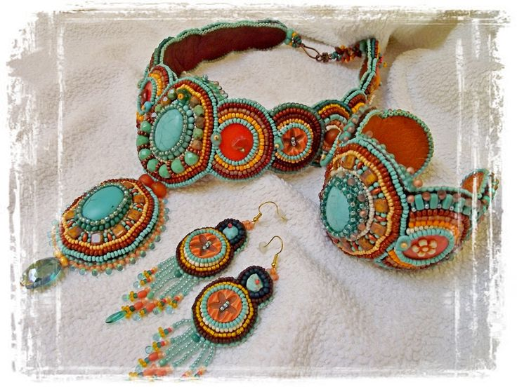 Turquose with orange brown bronse..