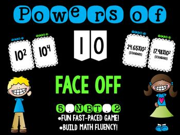 If your students are like mine, they struggle with powers of 10.  With this fast-paced game, students have fun practicing and mastering this tricky concept.  Simply form your students into two teams and project this exciting game!  The student who says the correct answer first gets the point.