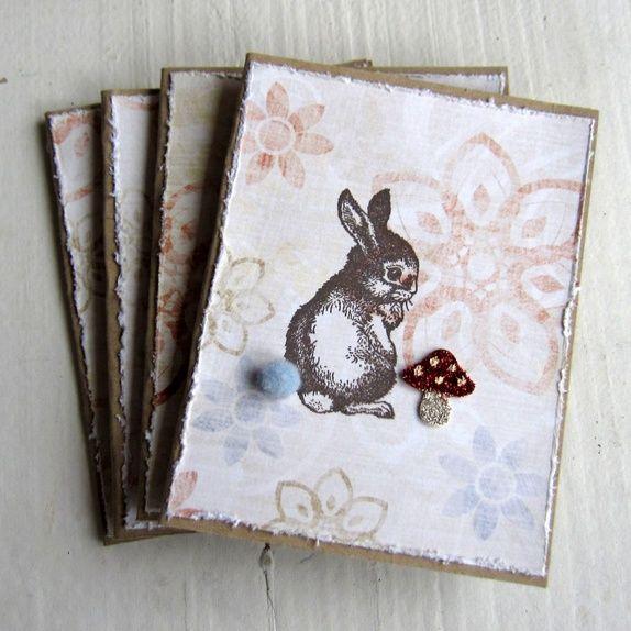 Harepus og fluesopp - 4 små kort fra CirkelineDesign