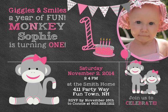 Sock Monkey Birthday Invitation Monkey by AsYouWishCreations4u