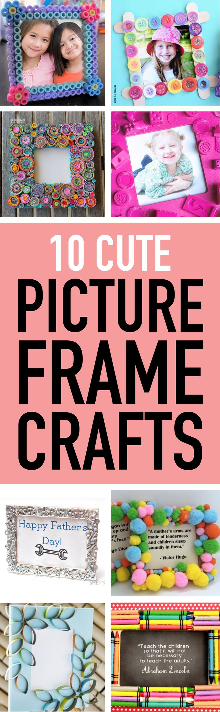 Looking for a way to entertain the kids? Make one of these fun picture frames! #kidscrafts #crafts #campcrafts