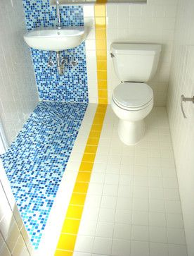 Bathroom by Winder Gibson Architects | ideas for small bathrooms | wet bath | blue tiles | blue and yellow bathroom | home decor tips