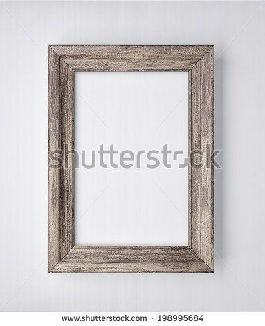 frame on white wall - stock photo