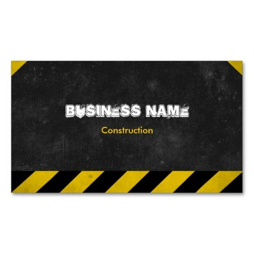 Black and Yellow Stripes Construction Business Card Template