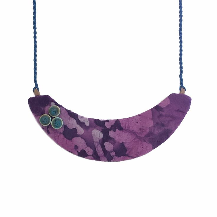 Purple statement necklace / necklace for women / thread necklace / bohemian bib necklace / handmade fabric statement necklace for her by BanSisDesignJewelry on Etsy