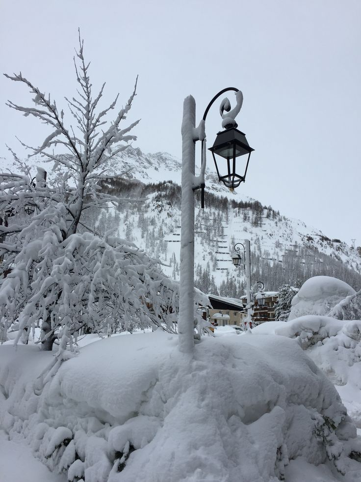 Snow Covered Lamp Post. Val D'Isere. France.