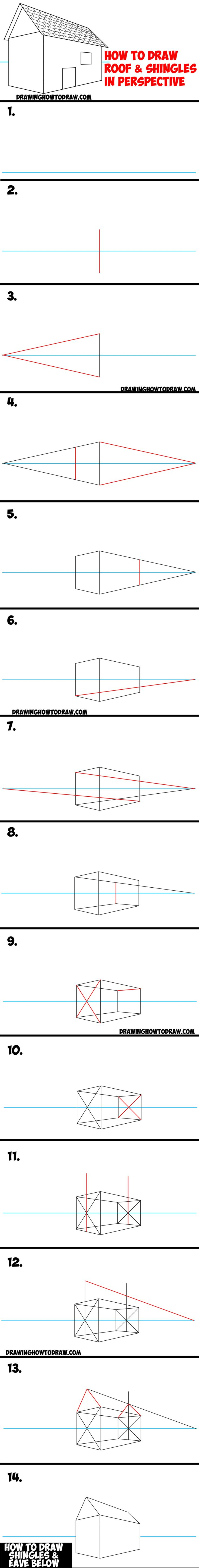 How To Draw A Roof And Shingles With Two Point Perspective  Easy Step By  Step