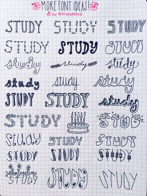 """studypetals: 3.18.16 12:24pm // 18/100 days of productivity // i was asked by the lovely @njillustrations to make more fonts, so i made another reference page for journaling/note taking. have a great friday! song of the day:""""buyou"""" - keri hilson ft. j. cole"""
