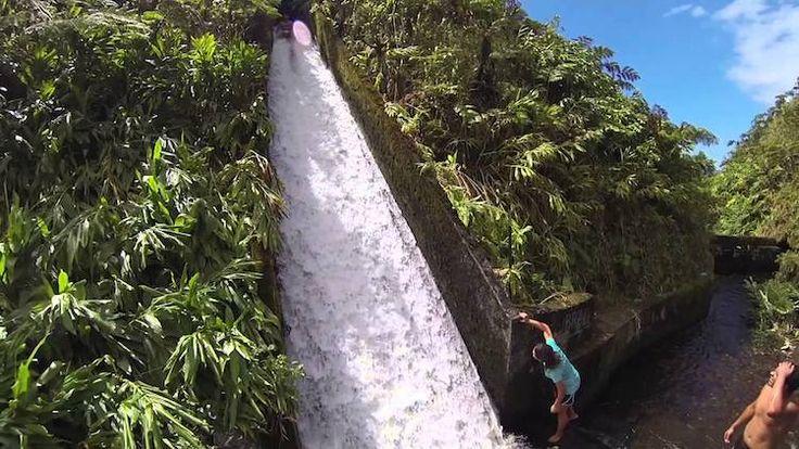 The world's coolest water slide is hidden in the hawaiian jungle