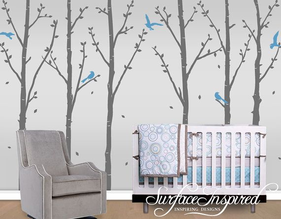 Tree Wall Decal - Winter Trees With Leaves and Flying Birds