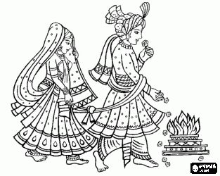 the bride and groom at the wedding or marriage following the hindu tradition coloring page