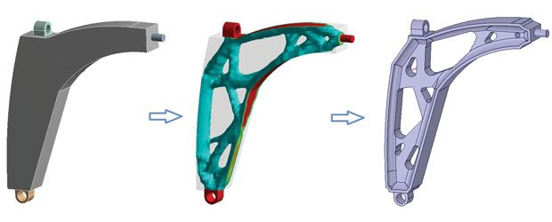 Topology optimization applied to the design of an automobile upper control-arm done with GENESIS Topology for ANSYS Mechanical (GTAM) from Vanderplaats Research & Development and ANSYS SpaceClaim