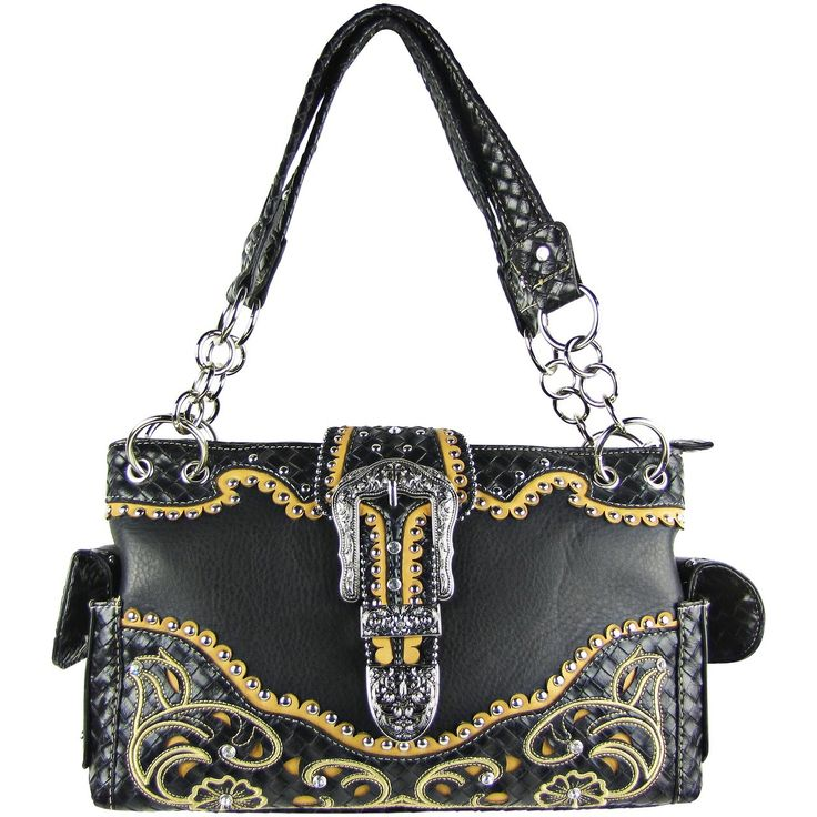 Black Studded Rhinestone Buckle with Flower Stitching Shoulder Handbag Bling is perfect for every occasion. Buy it before your friends do! www.ladyvoguefashion.com