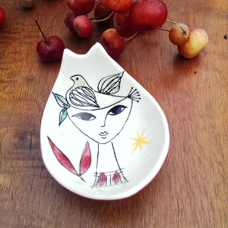 Stavangerflint Inger Waage Spoon Rest Dish Hand Painted Ceramic 1950s Retro Scandinavian Pottery by RetroandRitzy on Etsy