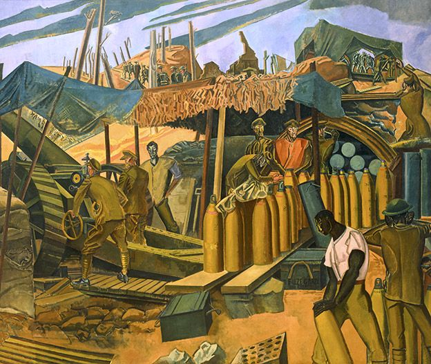 A Canadian Gun-pit, The Battle of Vimy Ridge as depicted by Percy Wyndham Lewis in 1918.
