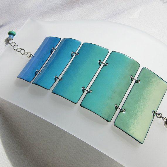 Turquoise Enamel Bracelet Enamel Jewelry Blue by OxArtJewelry, $149.00