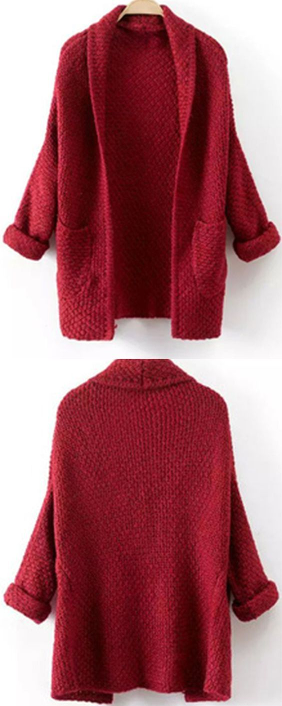 How to get a easy quick fix at warm travel time ?Long knit cardigan can't be more good for you! Red sweater coat with long sleeve & wrap neck ,such casual warm look is just so fashion !: