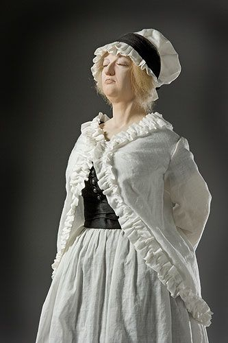 Marie Antoinette (at guillotine).Marie Antoinette (at guillotine)The Revolutionary Tribunal didn't want the ex-queen to attract any sympathy as a widow dressed in black. She was made to wear her only other garments, the flimsy house dress she wore in her cell