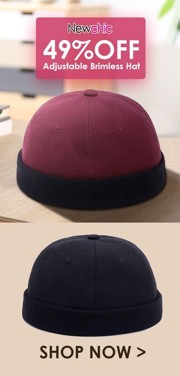 5f68c1a1 Adjustable Solid French Cotton Bucket Cap Retro Vogue Crimping Brimless Hats