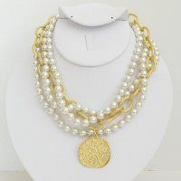 3-Strand Pearl with Handcast Gold Coin Necklace