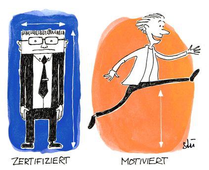 Cartoon for DoDifferent.com. Motivation better than Certification