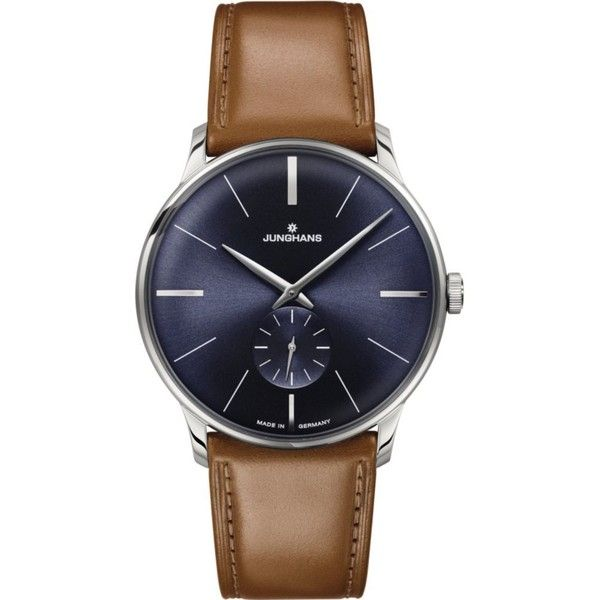 JUNGHANS 027/3504.00 Meister stainless steel and leather watch (1'395 CHF) ❤ liked on Polyvore featuring jewelry, watches, blue, leather watches, junghans, leather strap watches, stainless steel watches and leather jewelry