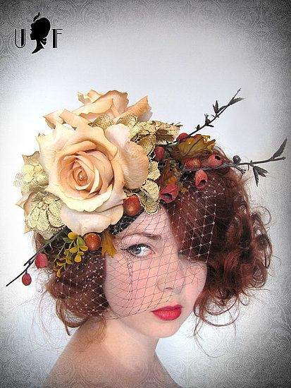 Oh, here we go -- birdcage veil and flowers, perfect for an outdoor autumn wedding? :)