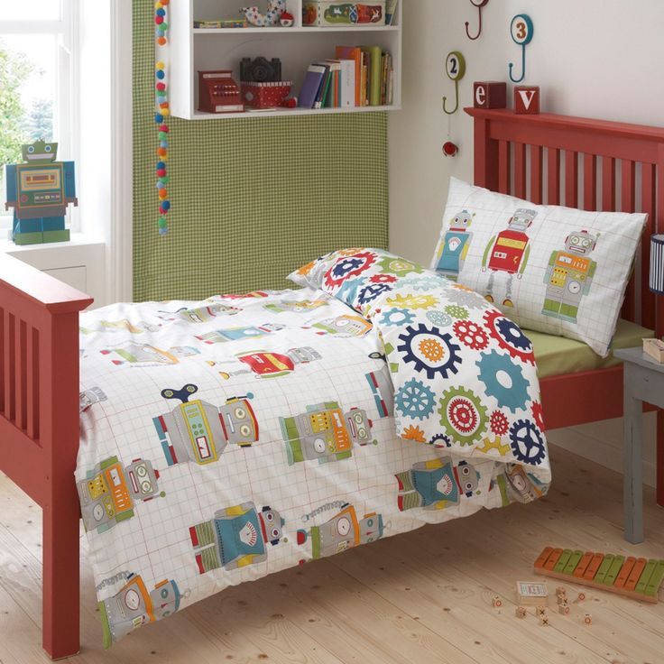 Robot bed linen for yellow and grey theme kids bedroom