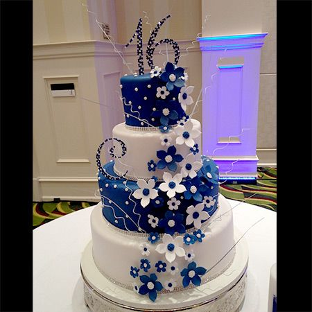 Sweet 16 Birthday Cake Navy and White.  Great April birthday cake idea. Birth colors for April are Navy, Silver and White... #aprilbirthdays #birthdaycakes