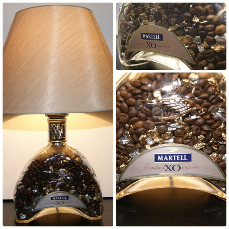 """Настольный светильник, Тема """"Кофе с Коньяком"""", ручная работа, изготовлен в единственном экземпляре. Основание бутылка из под Коньяка ХО. Наполнение: натуральный зерновой кофе, окрашенные камешки. Абажур золотистый."""
