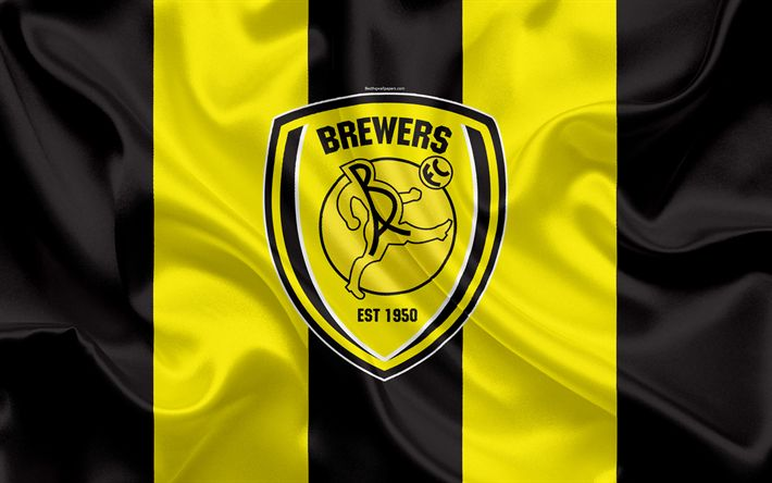 Download wallpapers Burton Albion FC, silk flag, emblem, logo, 4k, Burton-upon-Trent, Staffordshire, United Kingdom, English football club, Football League Championship, Second League, football