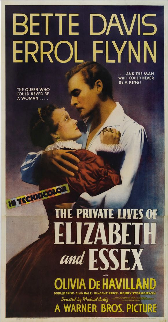 The Private Lives of Elizabeth and Essex released 1939 with Bette Davis, Errol Flynn, Olivia de Havilland directed by Michael Curtiz THE classic film about Elizabeth I. Bette Davis is just unsurpassable.
