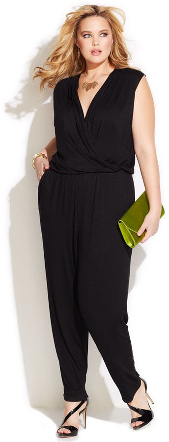INC International Concepts Plus Size Surplice Tapered Jumpsuit