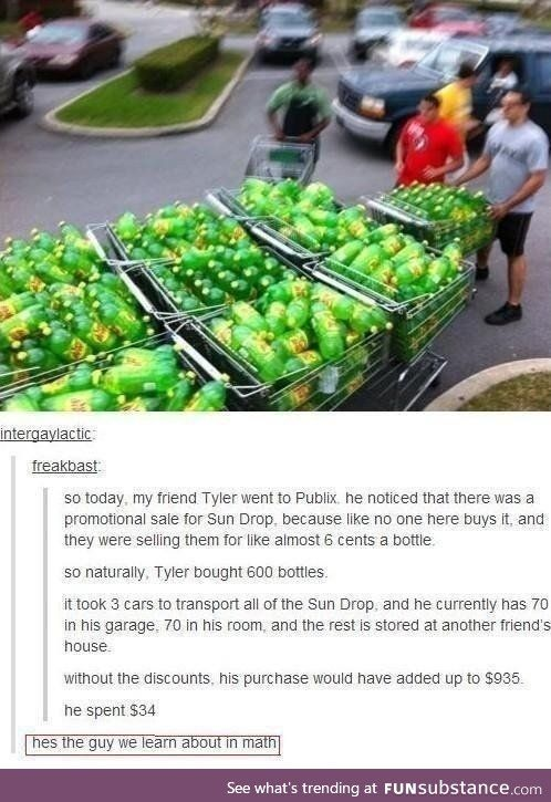 """Actually, I said something like this the other day in AP. My teacher, Mr. Trombello, was talking about how math questions are usually pretty accurate. Since I basically live off of the internet, I asked him, """"Then who do you know that buys 24 water melons?"""" The cast lost it lol"""