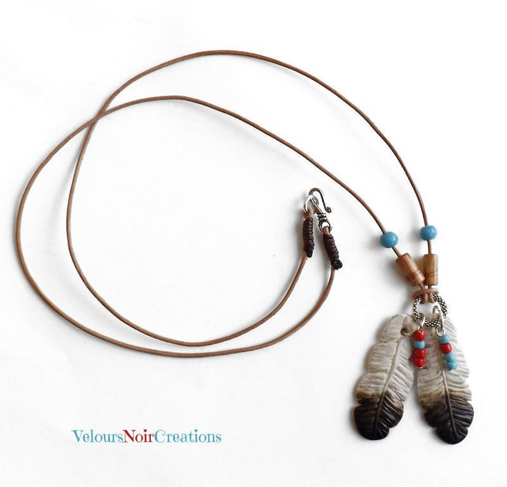 Collana con piume d'aquila nativi americani , native americans feather necklace,by Velours Noir Crèations, 20,00 € su misshobby.com
