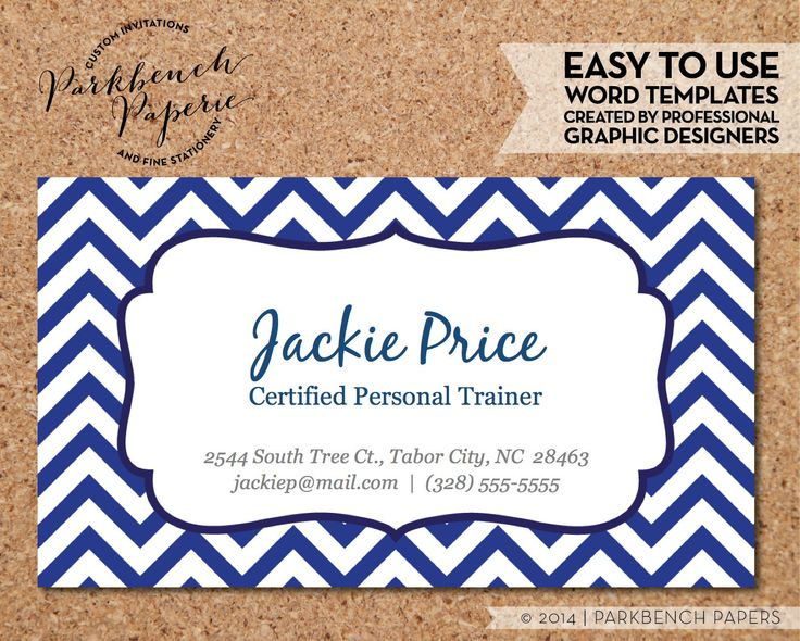 Business Card Template - Blue Chevron & Frame -  DIY Editable Word Template Instant Download Printable
