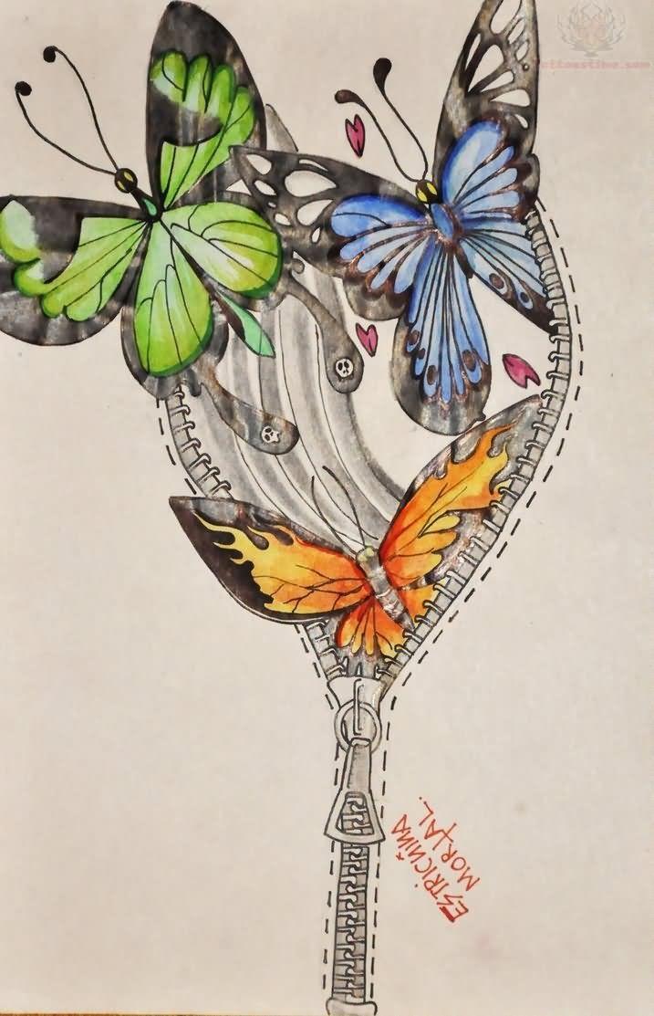 color-ink-butterflies-and-zipper-tattoo-design.jpg (717×1113)