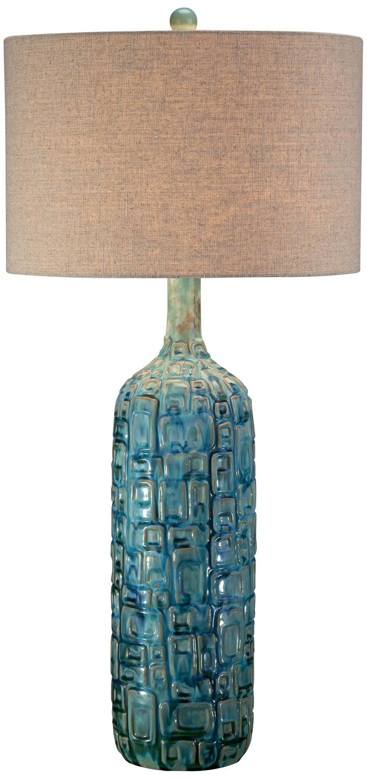 Ceramic Teal Mid Century Table Lamp