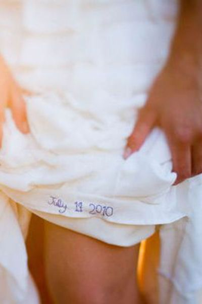 """Embroider your wedding date into the hem of your dress using blue thread — the perfect """"something blue."""""""