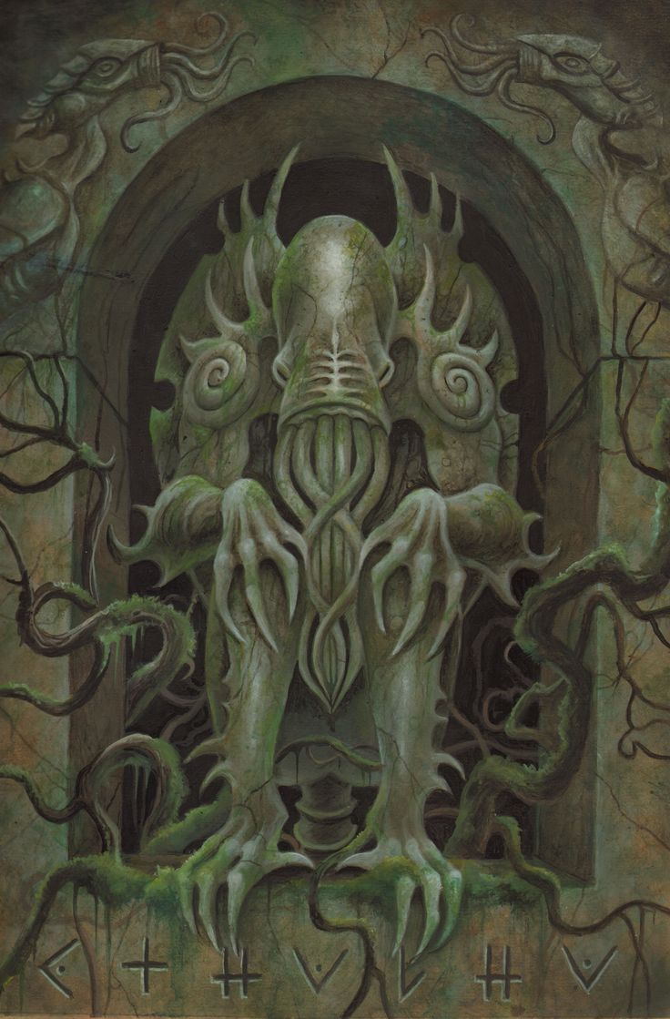 """""""Cthulhu Statue"""" from Cthulhu: The Great Old One Card Game by Dann Kriss Games, artwork by Ian Daniels © 2013 - on Kickstarter now!"""
