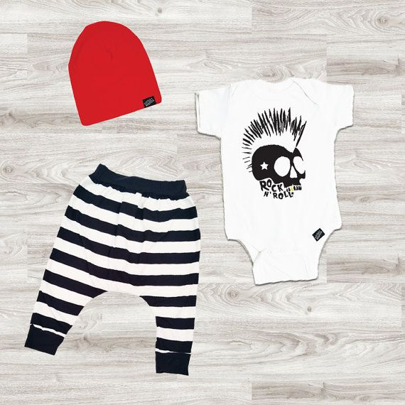 Baby Boy Outfit, Baby Boy Clothes, Baby Leggings, Baby Beanie, Rock n Roll Skull…