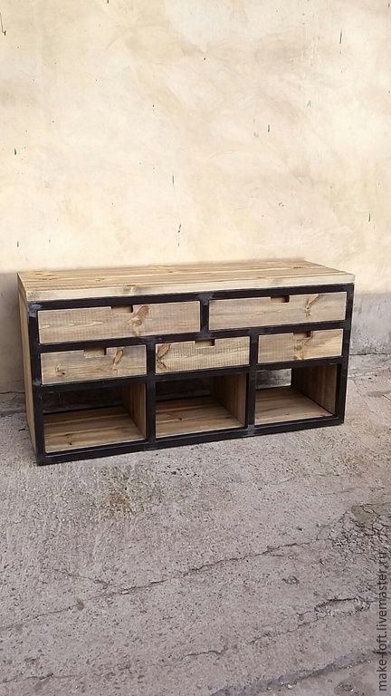 Купить Комод в стиле Лофт - серый, лофт, тумба, мебель для ванной, дерево, металл, индустриальный