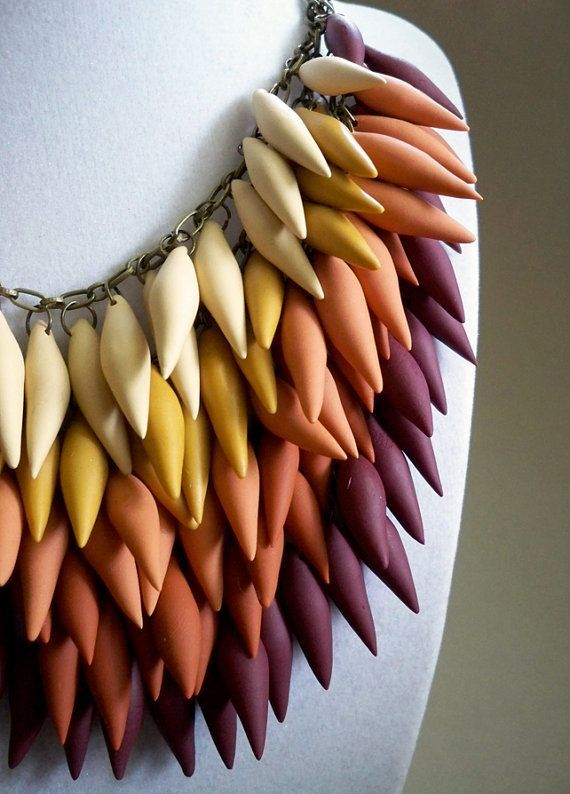 Polymer clay gradient necklace