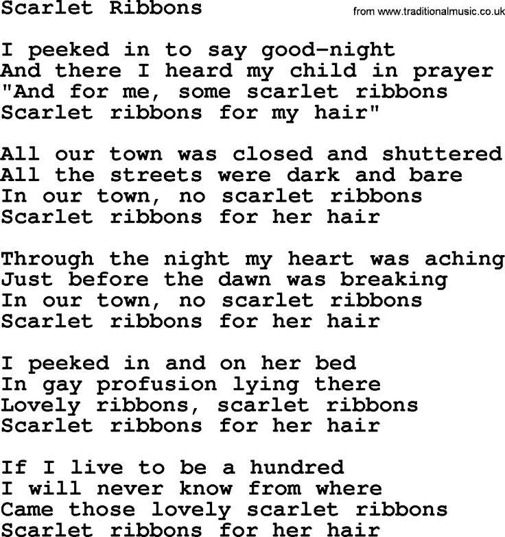 The Cats Scarlet Ribbons lyrics - YouTube