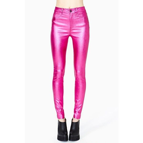 Disco Dreams Skinny Jeans ($10) ❤ liked on Polyvore featuring jeans, pants, bottoms, pink, metallic pink, pink jeans, zipper jeans, leather skinny jeans, nasty gal and disco jeans