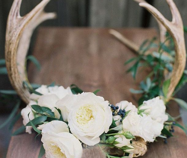 Woodland Wedding w Rustic feel and incorporate antlers for M's hunting interest incorporated