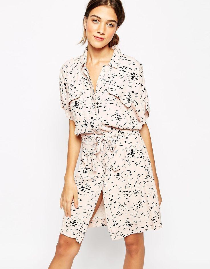 Image 1 - Ganni - Robe chemise à imprimé effet peinture - Rose cendré