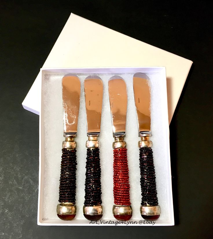 Beautiful beaded cheese knives for dinner parties! at #Art_Vintage4Lynn #Ebay to buy click image #PotteryBarn #ButterKnives #BohoKitchen #Party #DinnerParty #HostessGifts #NewYearsEveParty #CheeseBall #Cheese #BohemianKitchen