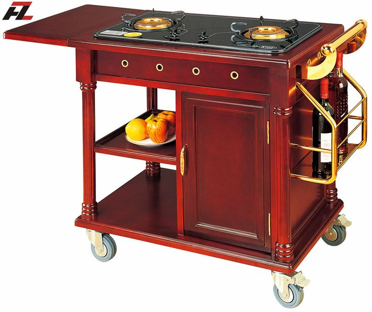 Kitchen Flambe Cooking Cart with Air Vents for Restaurant